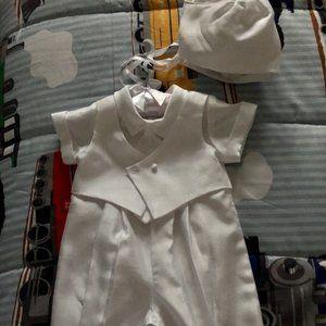 Infant boy baptismal romper with tie cap